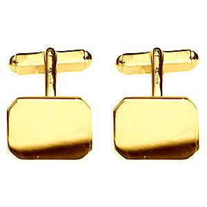 18ct Gold 18x12mm cut corner plain swivel Cufflinks