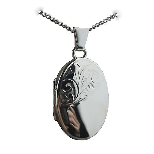 Silver 22x15mm hand engraved Miraculous medal Locket on a Curb chain