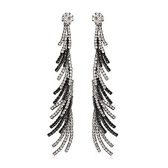 Earrings dangling Crystal white and black
