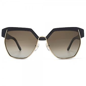 Chloe Dafne Geometric Metal Mix Sunglasses In Black