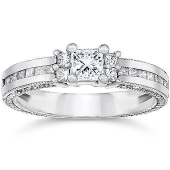 1 1 / 20ct Принцесса Cut алмаз обручальное кольцо 14K Белое золото