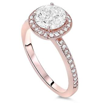 1ct Cushion Halo Diamond Engagement Ring 14K Rose Gold
