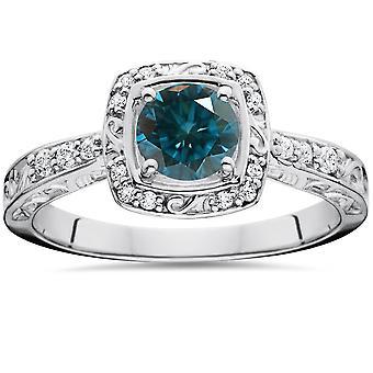.90CT Blue Diamond Halo Sculptural Engagement Ring 14K White Gold