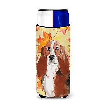 Fall Leaves Basset Hound Michelob Ultra Hugger for slim cans