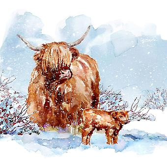 Highland Cow And Calf Poster Print by AV Art