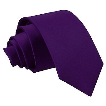 Corbata Slim satén púrpura llano