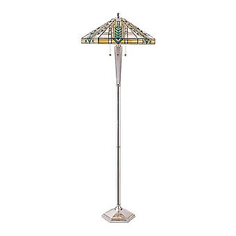 Interiors 1900 Lloyd 3 Light Tiffany Style Floor Lamp With Chrom