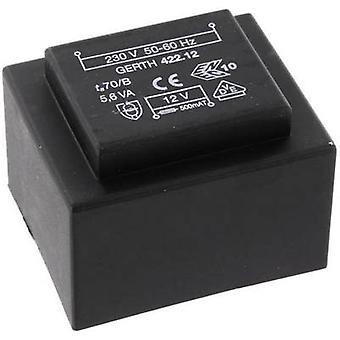 PCB mount transformer 1 x 230 V 1 x 9 V AC 5.60 VA 622 mA PTB420901 Gerth