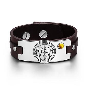 Archangel Uriel Sigil Magic Powers Amulet Tiger Eye Gemstone Adjustable Brown Leather Bracelet
