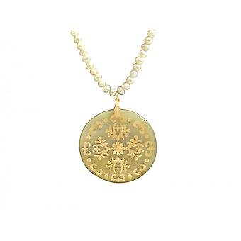 Gemshine - women's - gold plated necklace pendant - Locket - Pearls - Pearl - - bronze - grey - white - 5 cm