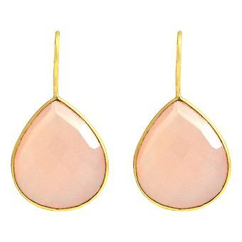 Gemshine - Damen - Ohrringe - 925 Silber - Vergoldet - Onyx - Rosa - CANDY - Tropfen - 3,5 cm