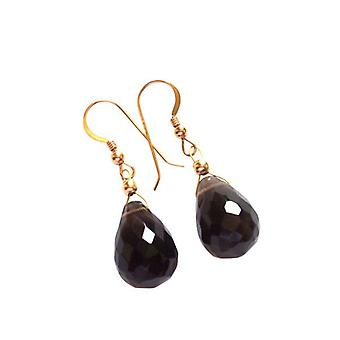 Øreringe - forgyldt - smoky quartz - facetteret Brown - 2 cm - slip-
