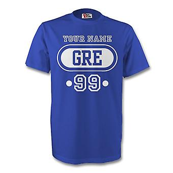 Greece Gre T-shirt (blue) + Your Name (kids)