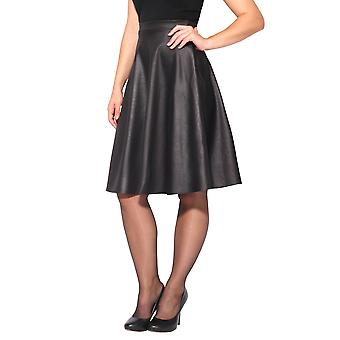 KRISP Faux Leather High Waisted Full Midi Skirt