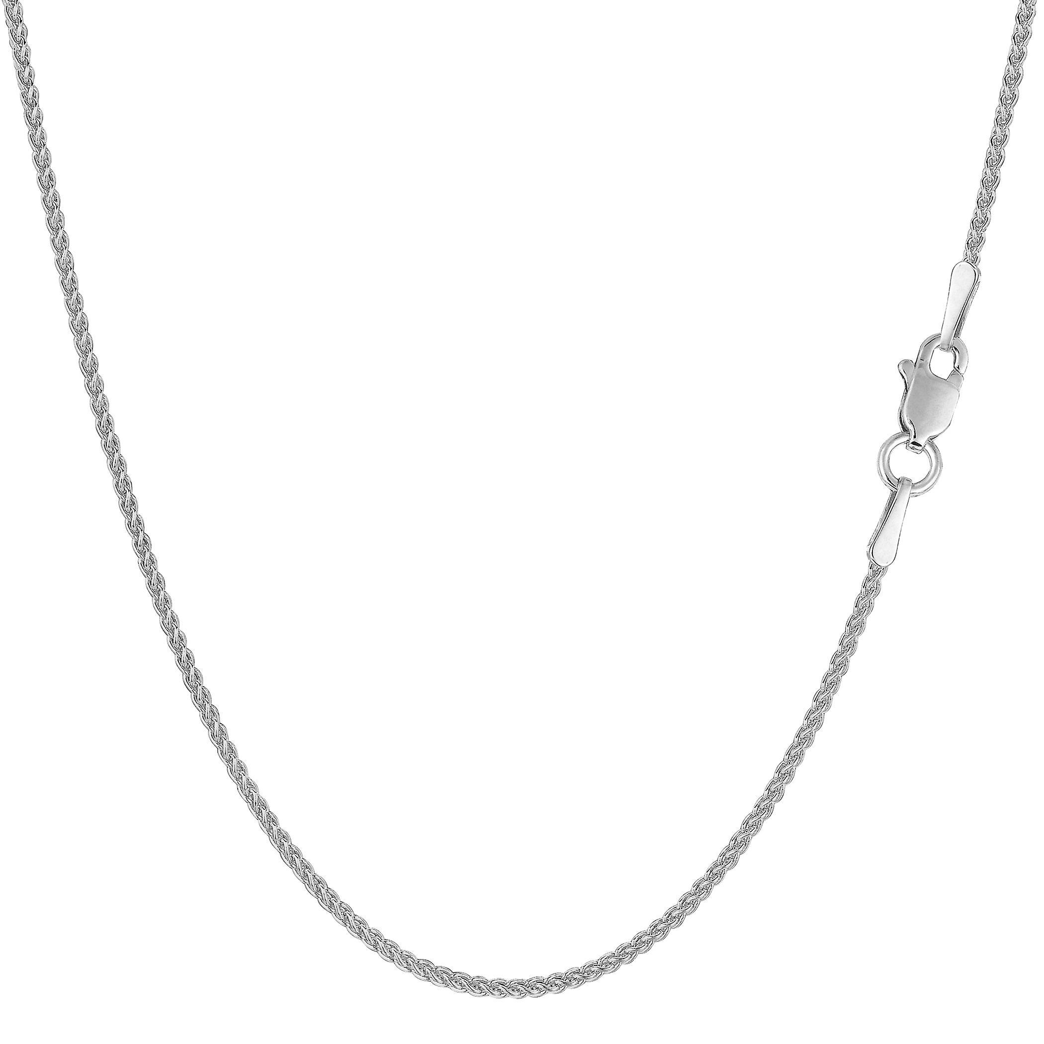 14k blanc or Round Wheat chaîne collier, 1.2mm