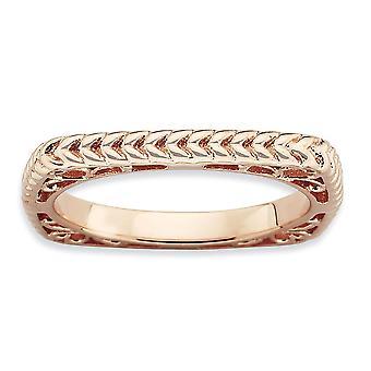 Stapelbare expressies van 2,25 mm zilver gepolijst roze-plaat Square Ring - Ringmaat: 5 tot en met 10