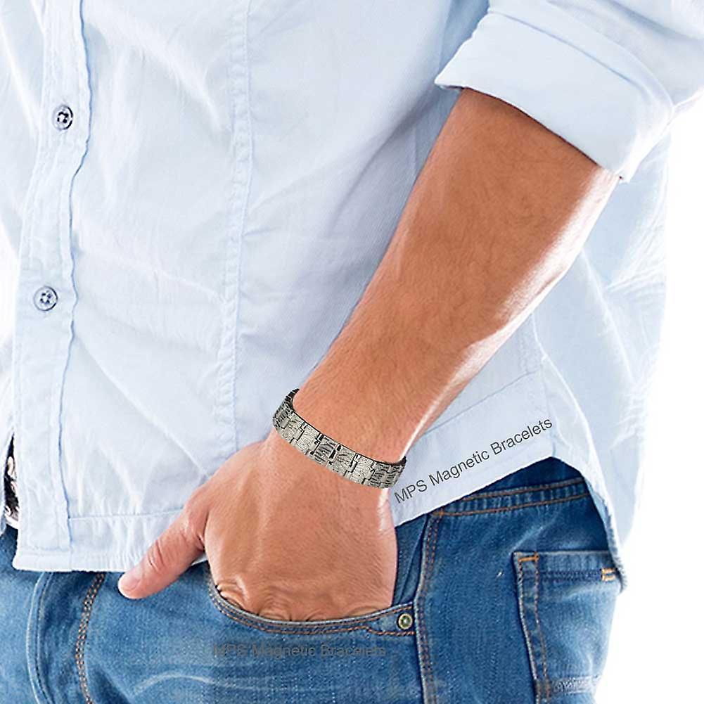 MPS® MERCURY SILVER Titanium Magnetic Bracelet + Free Link Removal Tool