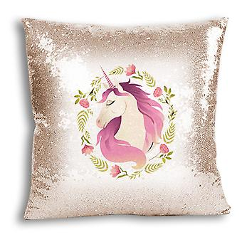 i-Tronixs - Unicorn trykt Design Champagne Sequin pute / Pillow Cover for hjem Decor - 9