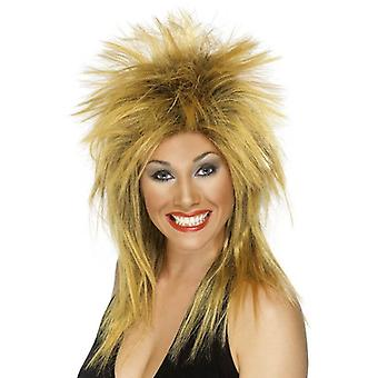 Long Ginger Spikey Wig, Rock Diva Wig, 1990's Fancy Dress Accessory