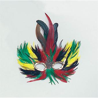 Feather Eye Mask Green/Red/Yellow.