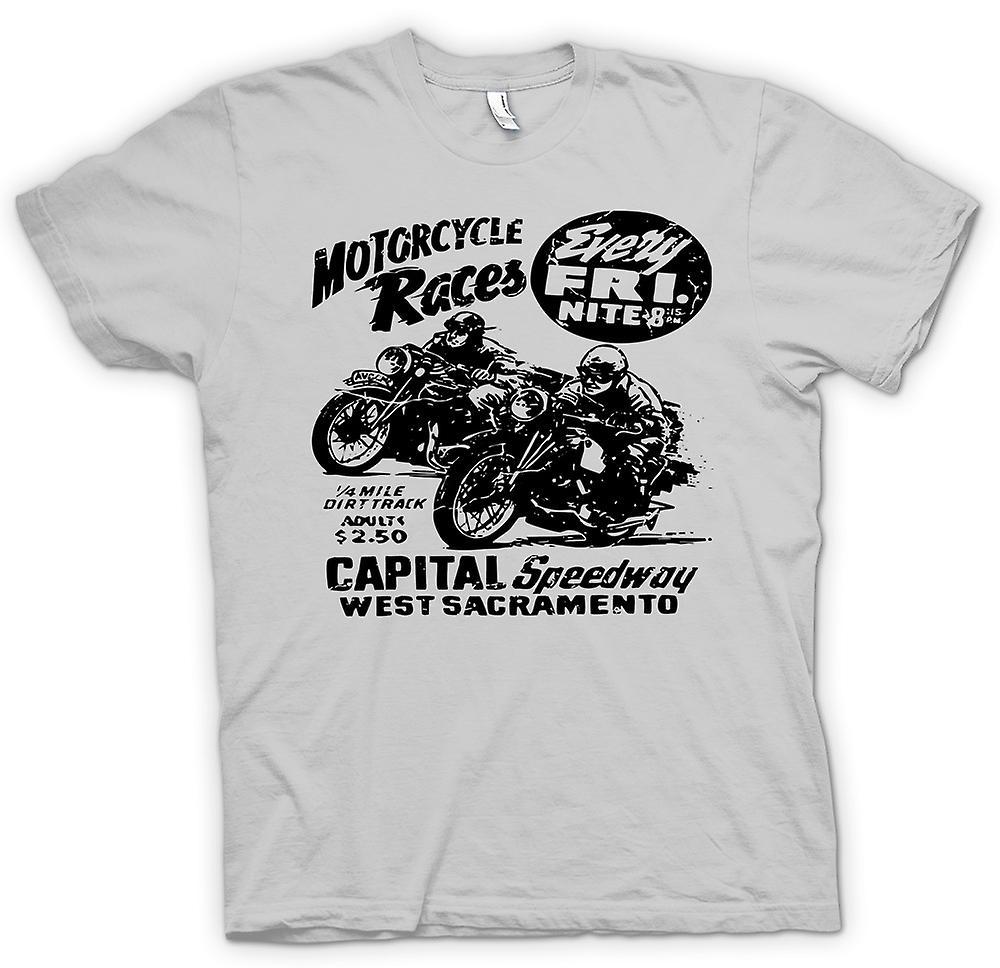 Mens t-shirt-gara di moto moto d'epoca