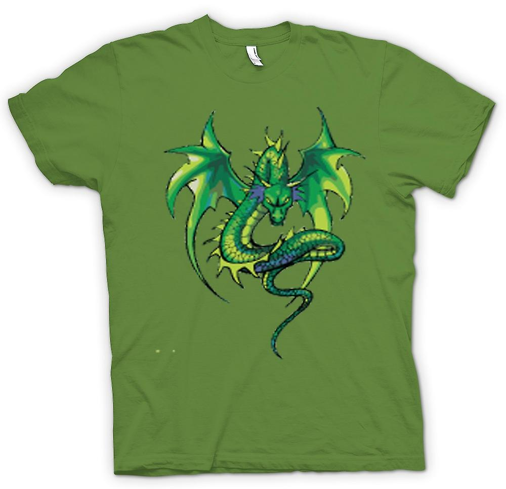 Mens T-shirt - Green Dragon Comic Design