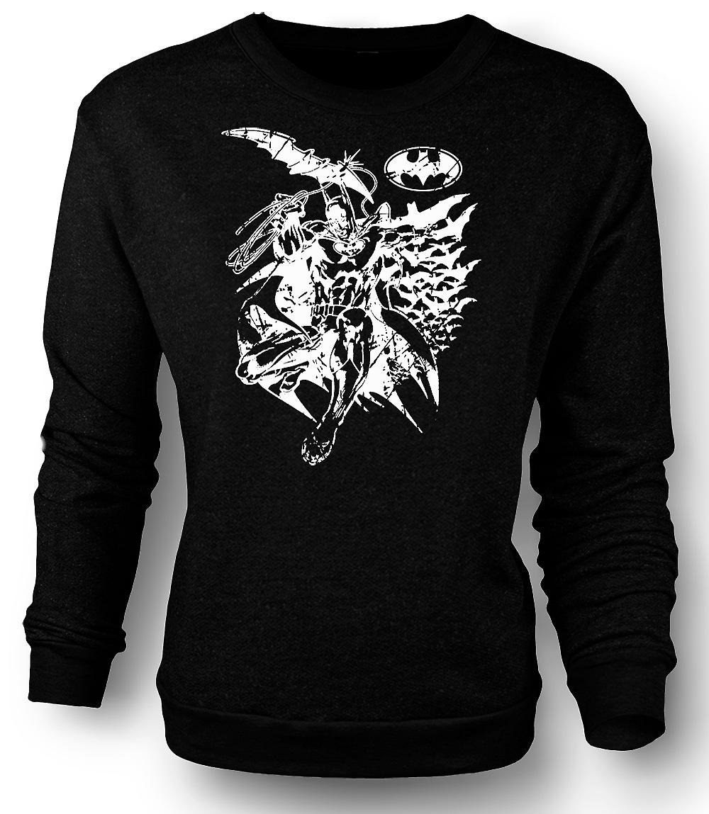 Mens Sweatshirt Batman Bats Caped - Crusader - BW