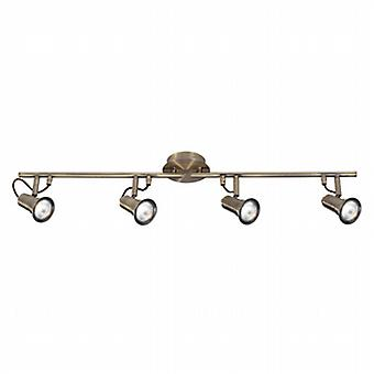 1224AB Eros Antique Brass 4 Light Ceiling Bar Spotlight