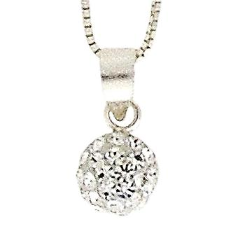 Sterling Silver 6mm Clear Crystal Glitter Disco Half Ball Pendant on 18