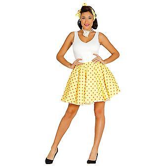 Womens jaren 1950 geel Polka Dot Fancy Dress kostuum