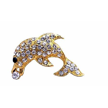 Gold Dolphin Vintage Artistically Decorated with Cubic Zircon Brooch