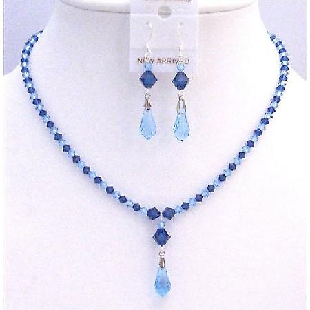 Prom Jewelry Blue Swarovski Crystals Aquamarine Sapphire Jewelry Set