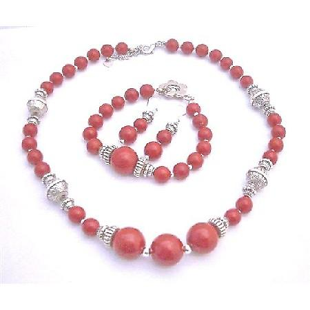 Coral Jewelry Set Ethnic Traditional Bali Silver Coral Round Beads Necklace Earrings and Bracelet Coral Jewelry Set