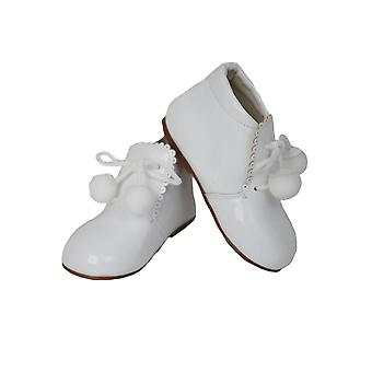 Baby Girls Pom Pom Wedding Party Patent Formal White Shoes