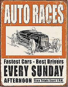 Vintage Auto Races weathered metal sign