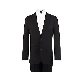 Dobell Mens Black Travel/Performance 2 Piece Suit Regular Fit Peak Lapel