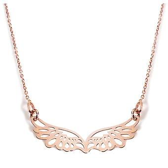 Ah! Jewellery Open Work Angel Wing Necklace, 18K Rose Gold Vemeil Over Sterling Silver