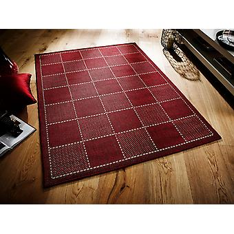 Checked Flatweave Red  Rectangle Rugs Plain/Nearly Plain Rugs