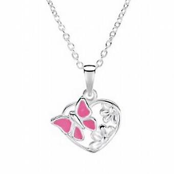 Jo For Girls Sterling Silver Pink Enamel Butterfly Heart Pendant on 14