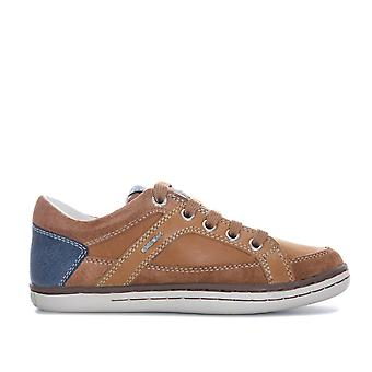 Children Boys Geox Garcia Trainers In Cognac- Lace Fastening With Zip To Side-