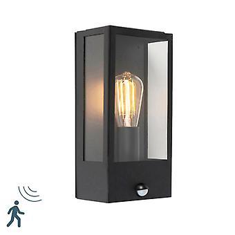 QAZQA moderne buiten muur Lamp zwart met bewegingsmelder - Rotterdam 1