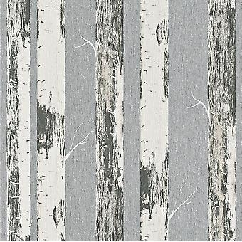 Rasch Amelie Birch Tree Woodland Wallpaper Cream Silver Metallic Paste The Wall
