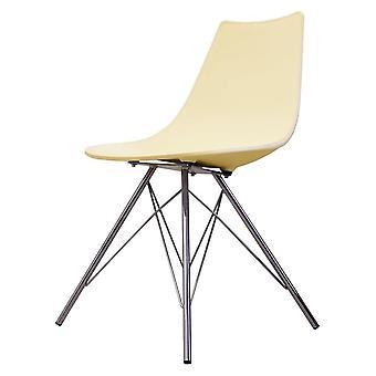 Chaise de salle à manger en plastique iconique de fusion vivant avec des jambes en métal de chrome