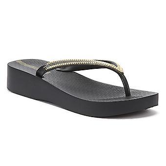 Ipanema Mesh Wedge 21 Womens Black / Gold Flip Flops
