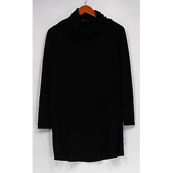 Lisa Rinna Collection Top Cowl Neckline Long Sleeves Black A297909
