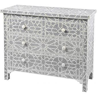 Libra Furniture Blue Grey Bone Inlaid Geometric 4 Drawer Chest
