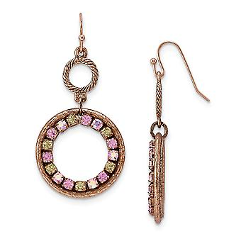 Shepherd hook Copper-tone Purple Pink and Yellow Crystal Circle Drop Earrings