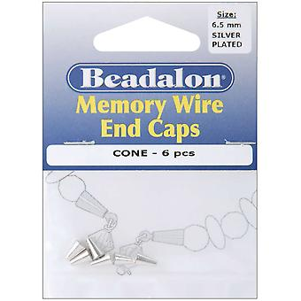 Memory Wire End Caps Cone 6.5Mm 6 Pkg Silver Plated 317B 010