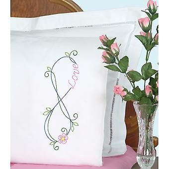 Stamped Pillowcases W/White Perle Edge 2/Pkg-Infinity 1600 927