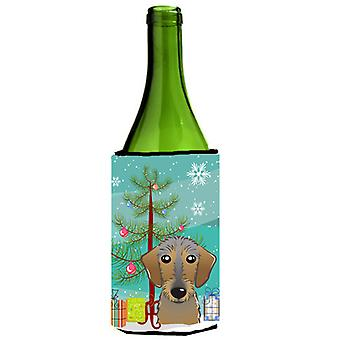Christmas Tree and Wirehaired Dachshund Wine Bottle Beverage Insulator Hugger BB1605LITERK
